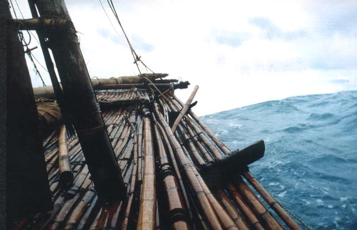 The Nale Tasih 2, a bamboo raft made with stone tools, on its epic 13-day journey from Timor to Australia, December 1998, travelling in 5-m waves.