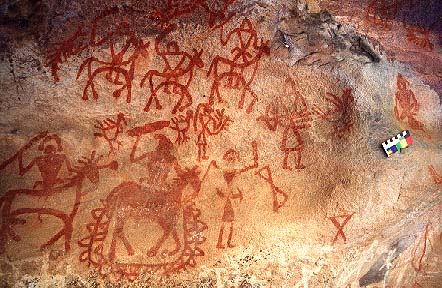 Rock paintings at Bhimbetka, thought to be of a Historical period.