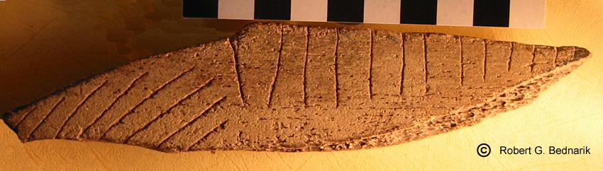 Middle Palaeolithic engravings on bone, Oldisleben, Germany.